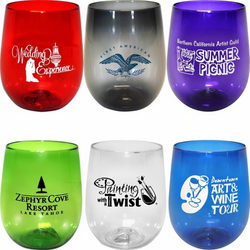 AAKron 12 oz. Plastic Stemless Wine Glass