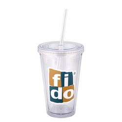 500 ML. (17 FL. OZ.) DOUBLE WALLED TUMBLER WITH STRAW
